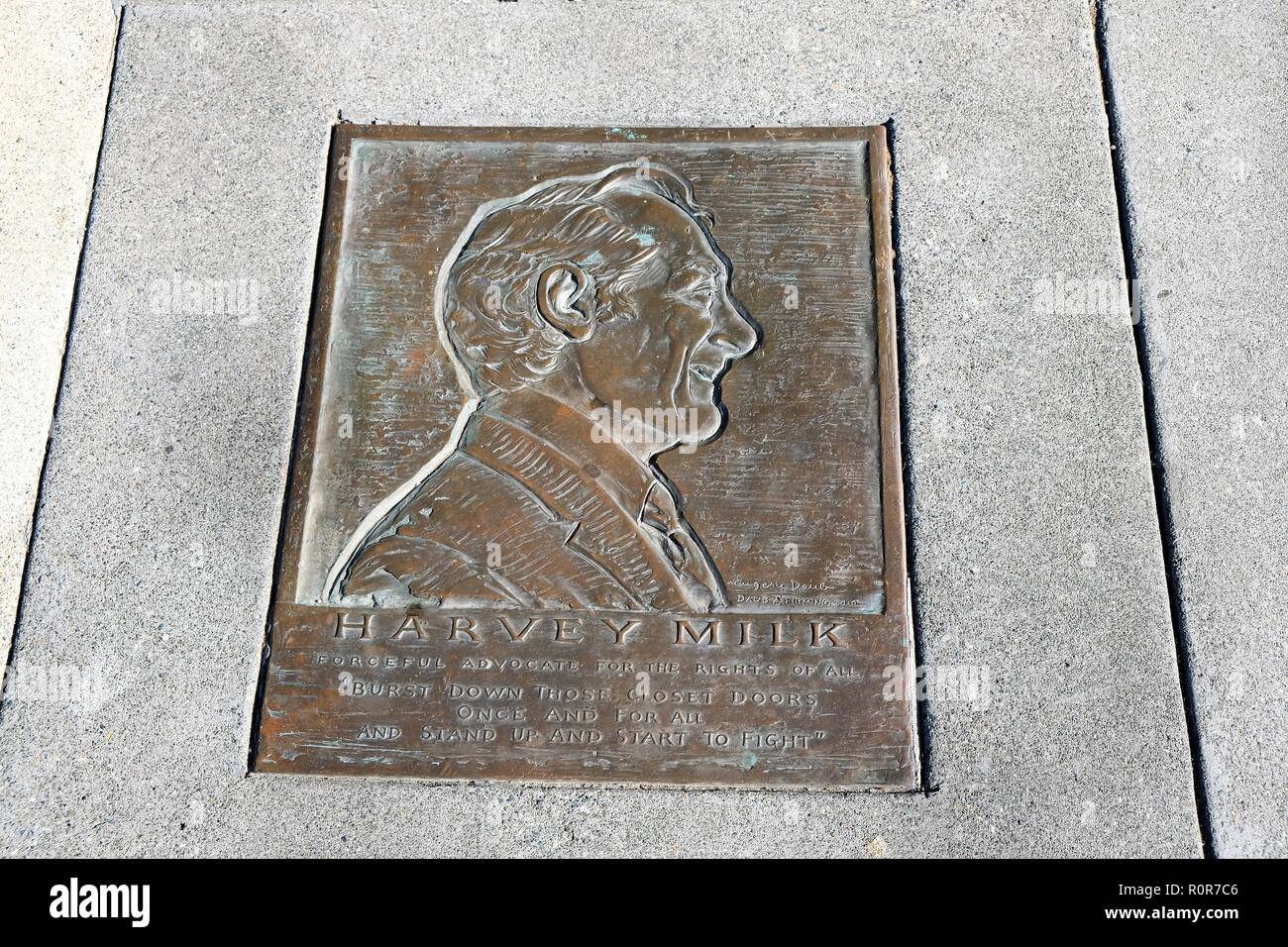 Plaque for Harvey Milk, human rights advocate, on the Castro Street sidewalk outside his campaign headquarters and camera shop; The Castro District. - Stock Image