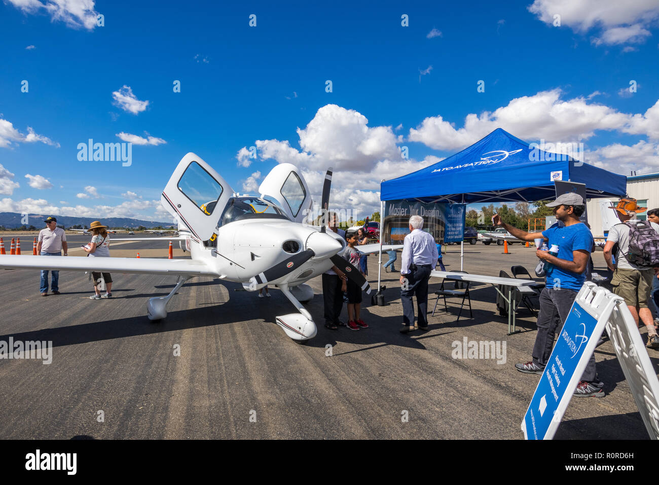 October 6, 2018 Livermore / CA / USA - Private aircraft on display at the Livermore Municipal Airport Open House event, East San Francisco bay area - Stock Image