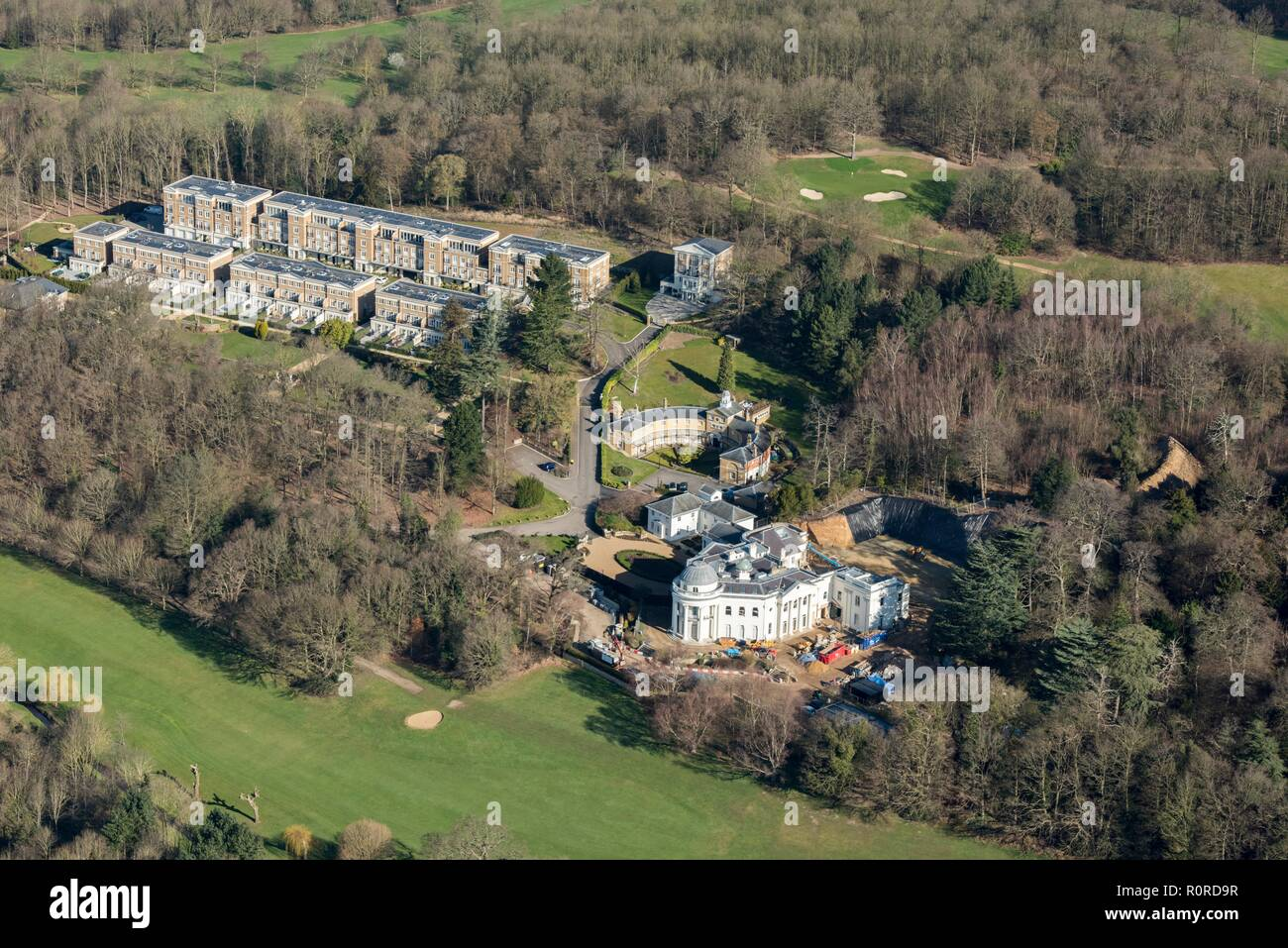 Sundridge Park Mansion, Sundridge Park, Bromley, London, 2018. View of the house, designed by John Nash and completed by Samuel Wyatt, during conversion to residential dwellings. The new Repton Court development of town houses and apartments is visible in the left background. - Stock Image