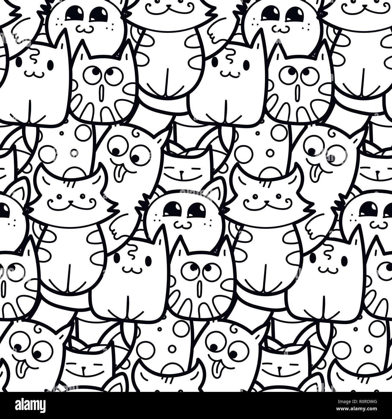 Funny doodle cats and kittens seamless pattern for prints ...