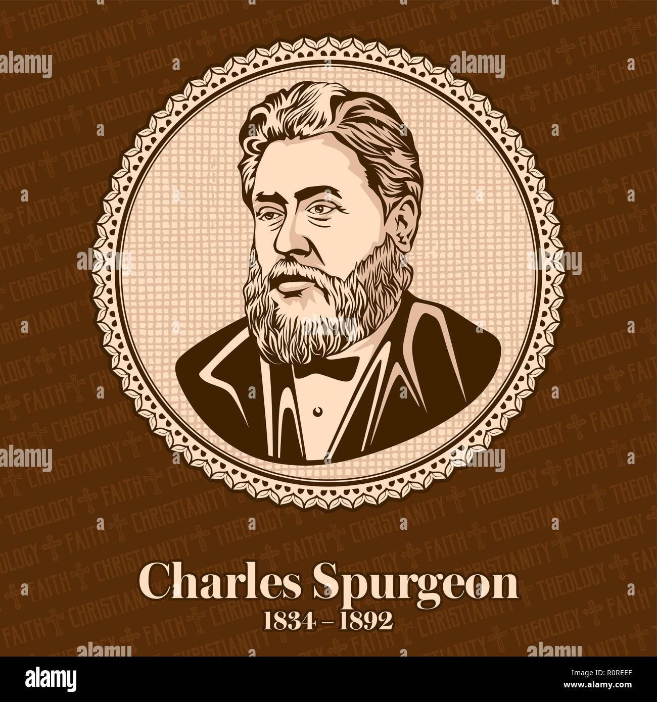 Charles Haddon Spurgeon (1834 – 1892) was an English Particular Baptist preacher. Spurgeon remains highly influential among Christians of various deno - Stock Vector