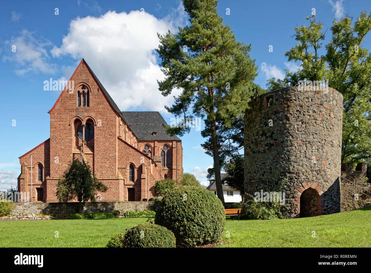 St. John the Baptist Church, Catholic parish church, Amöneburg castle ruins, defence defence tower, Amöneburg castle - Stock Image