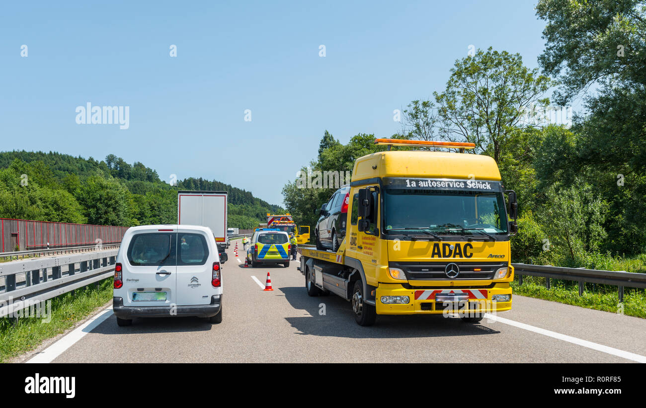 Accident, ADAC and barriers, traffic jam on motorway, Bavaria, Germany - Stock Image