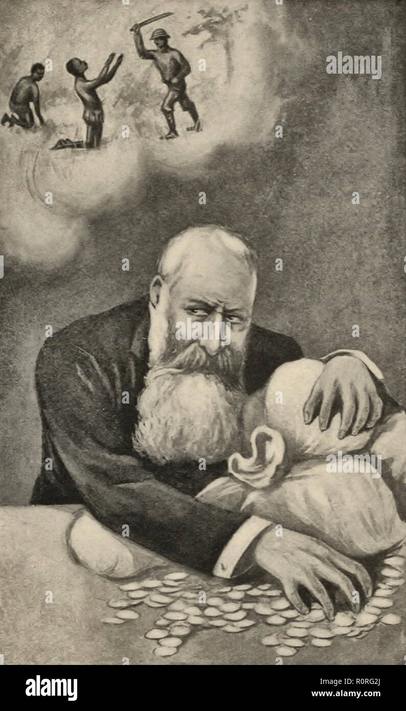 King Leopold of Belgium protects his money made from the Belgian Congo, while the natives suffer abuse - Stock Image