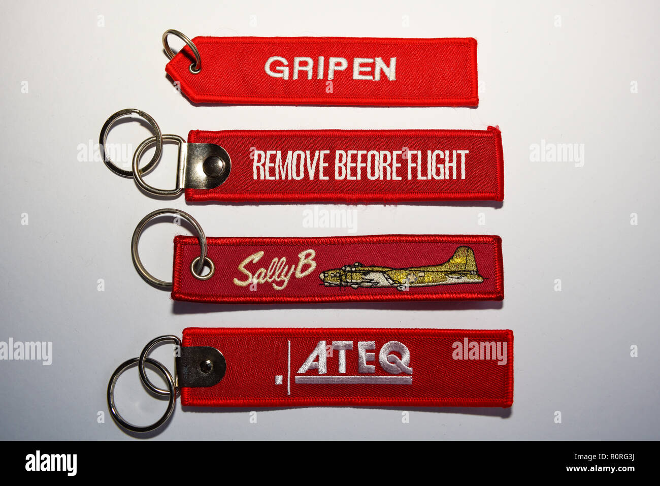 Remove before flight promotional tags, embroidered key rings