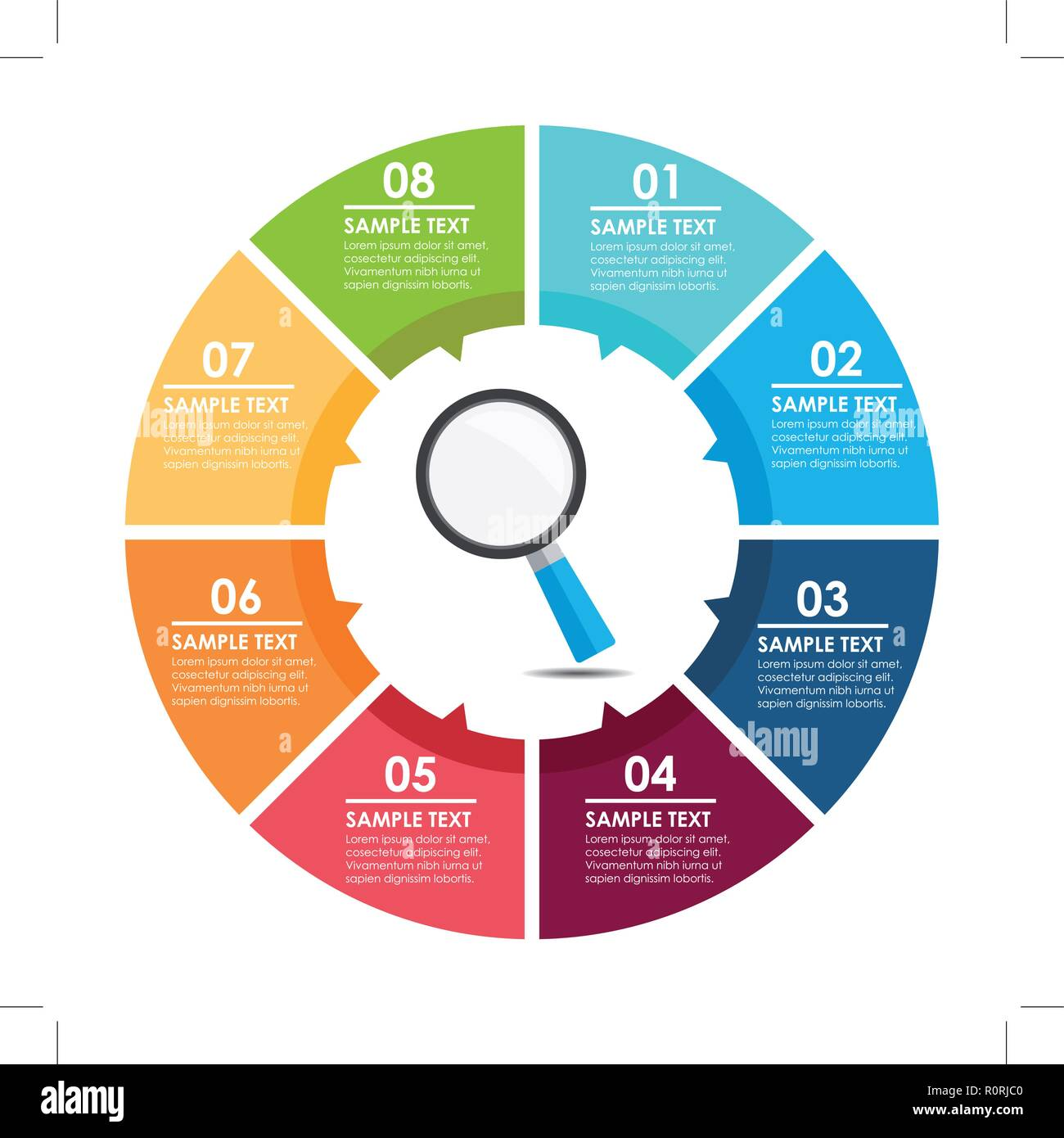 magnifying glass circle infographic. Search concept. Vector illustration. - Stock Image