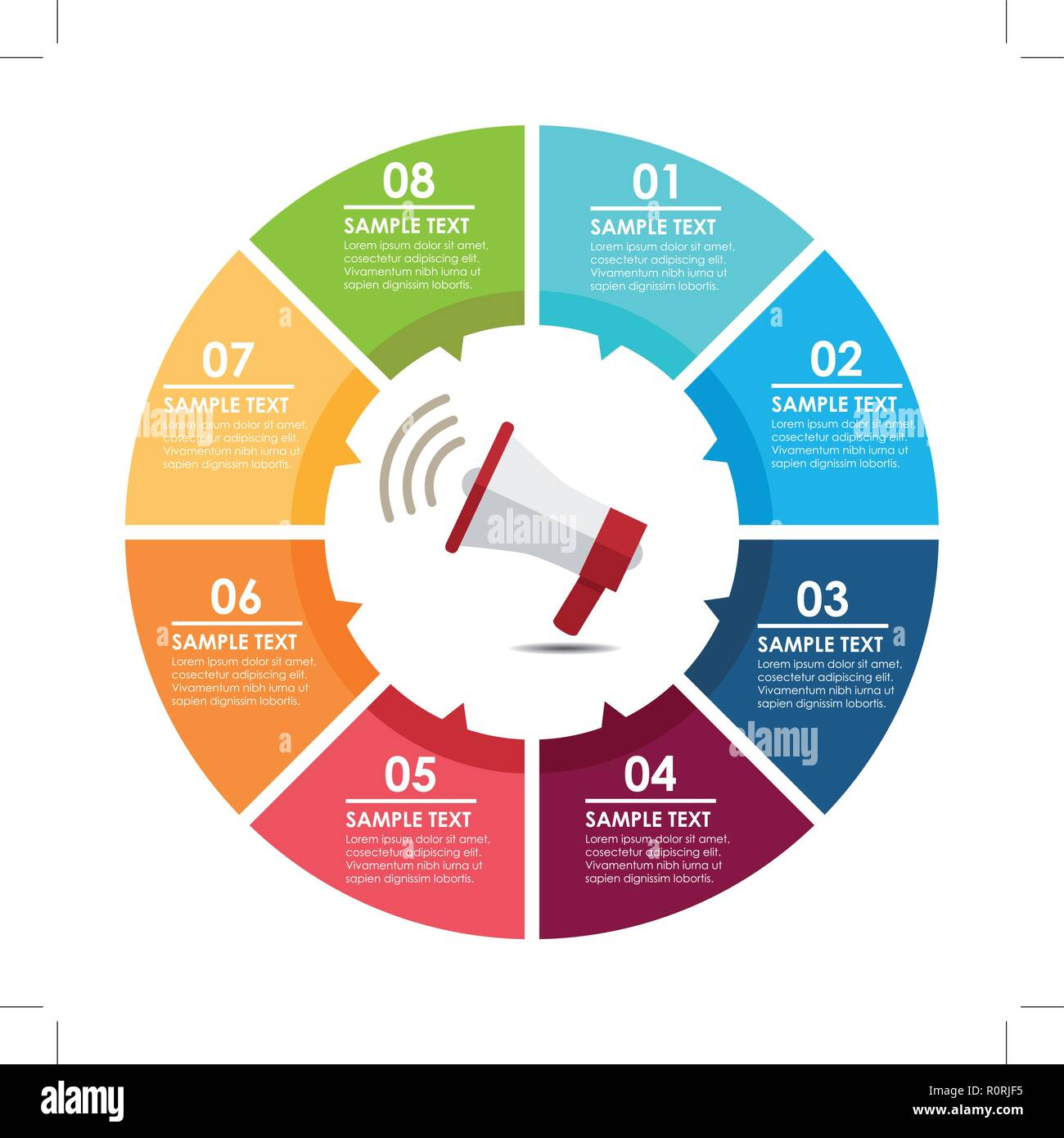Megaphone circle infographic. Concept broadcasting. Vector illustration - Stock Image