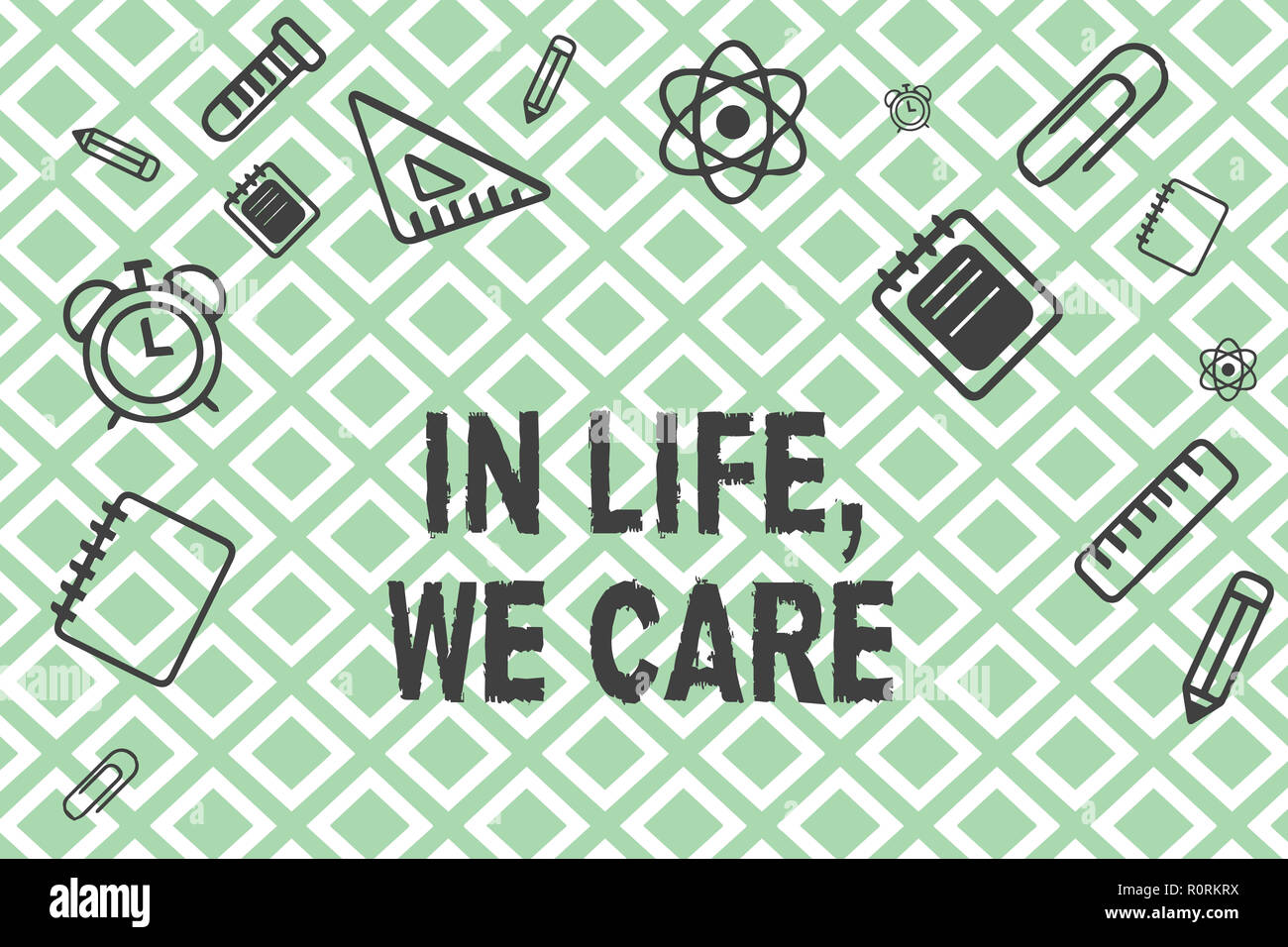 Handwriting text In Life, We Care. Concept meaning Cherishing someones life Giving care and attention. - Stock Image