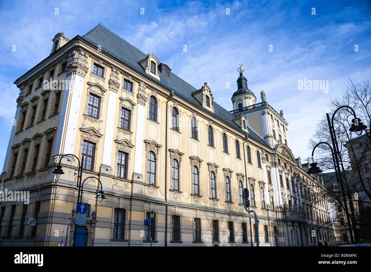 University of Wroclaw, main building, Lower Silesia, Poland.  Magnificent Baroque facade  with blue, cloudy sky background. - Stock Image