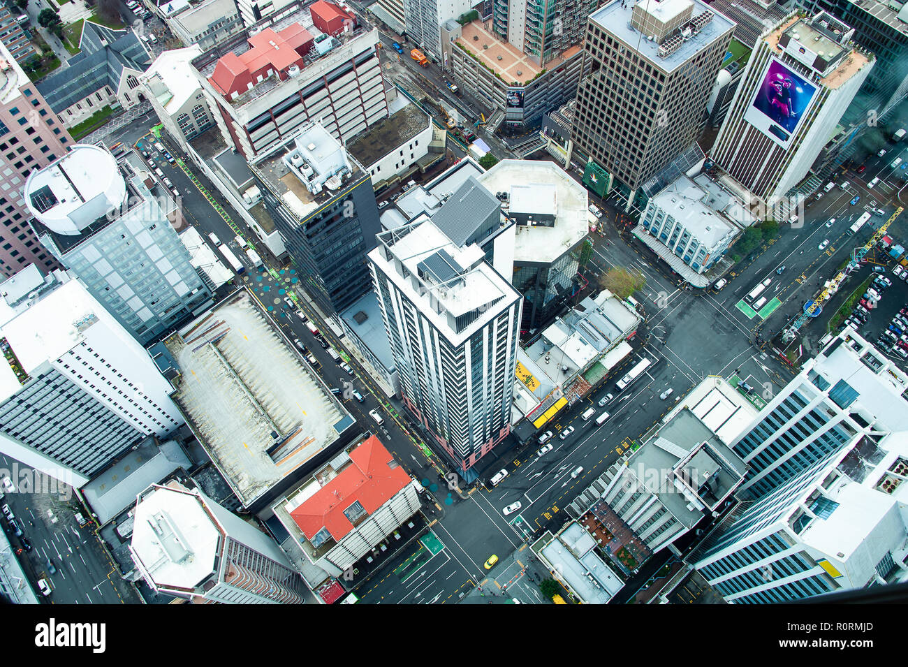 Aerial view to downtown Auckland, viewed from the Sky Tower. Modern city, geometric design, during daytime - Stock Image