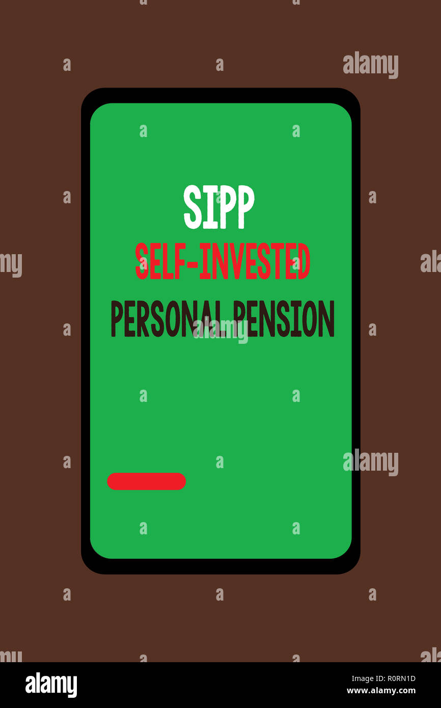 Handwriting text Sipp Self Invested Personal Pension. Concept meaning Preparing the future Save while young. - Stock Image