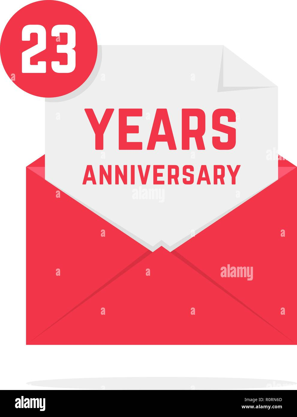 23 years anniversary icon in pink open letter Stock Vector