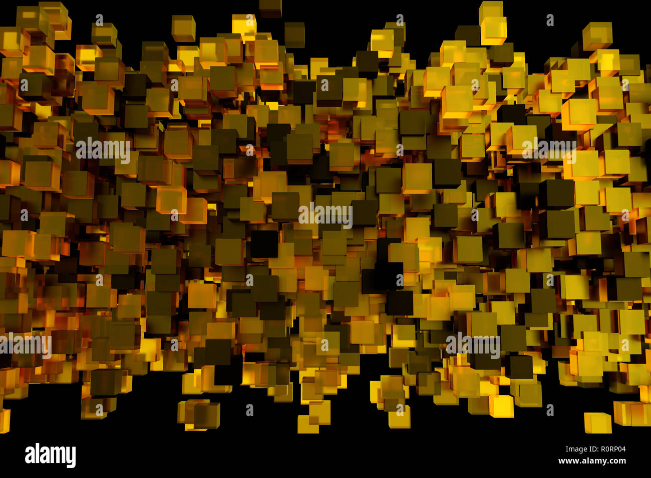 Abstract 3d rendering of chaotic cubes  Flying shapes in