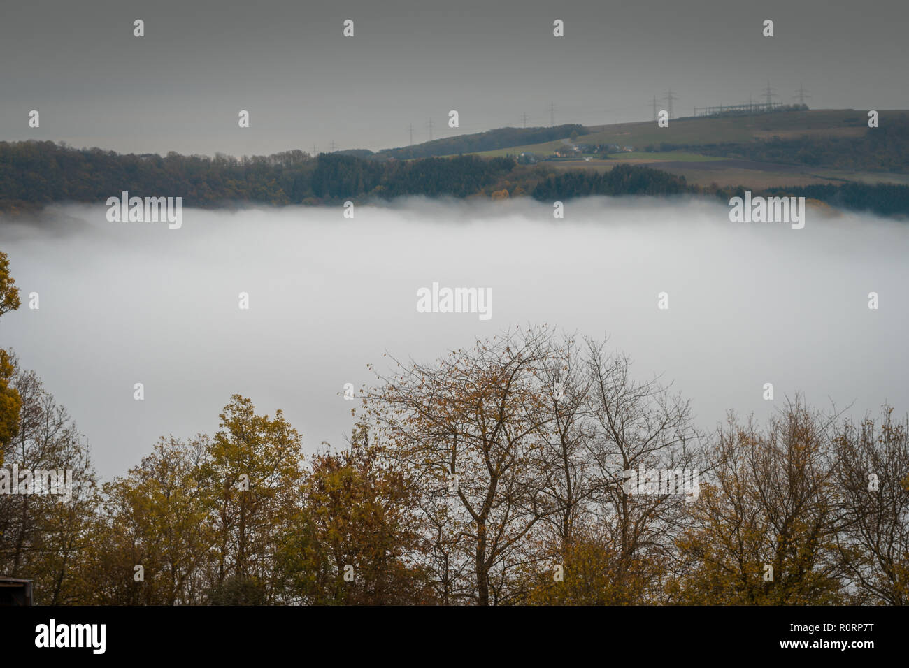 Foggy Landscape Valley Germany - Stock Image