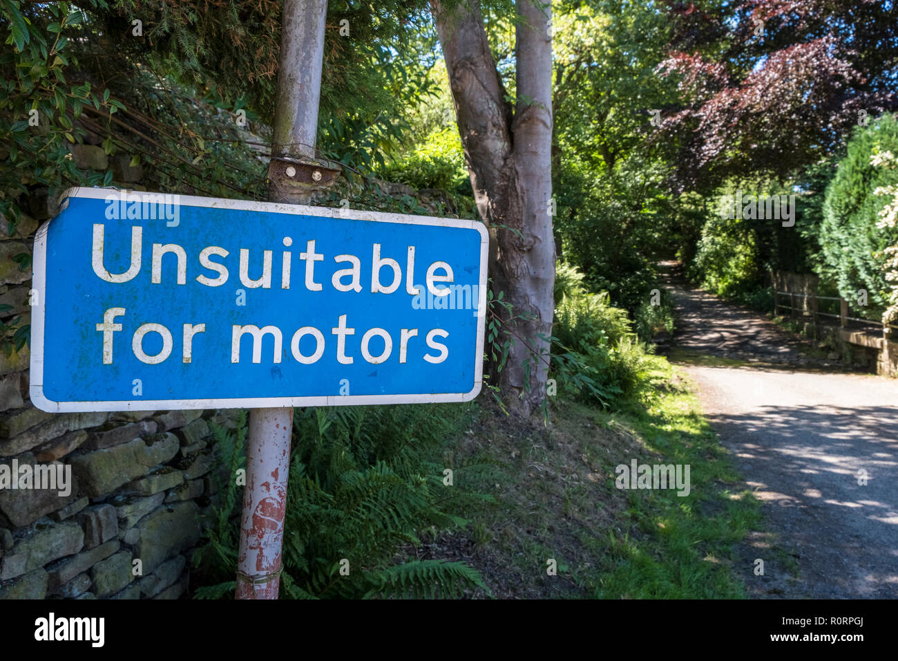 Unsuitable for motors road sign, Derbyshire, England, UK - Stock Image
