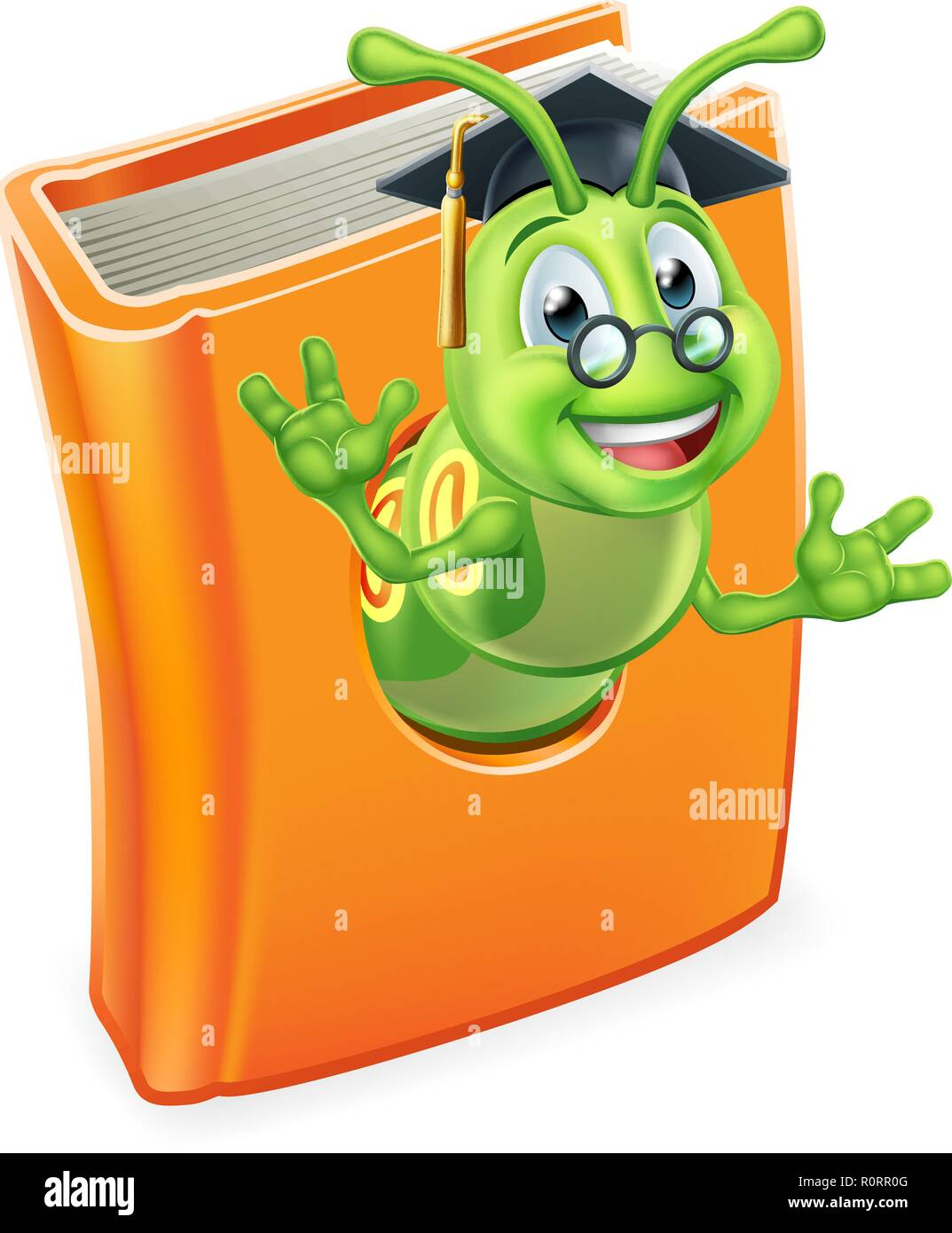 Graduate Bookworm Caterpillar Worm in Book Stock Vector