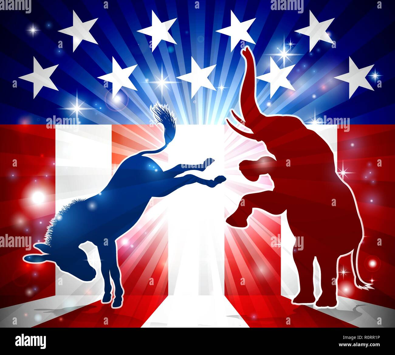 Elephant Fighting Donkey - Stock Image