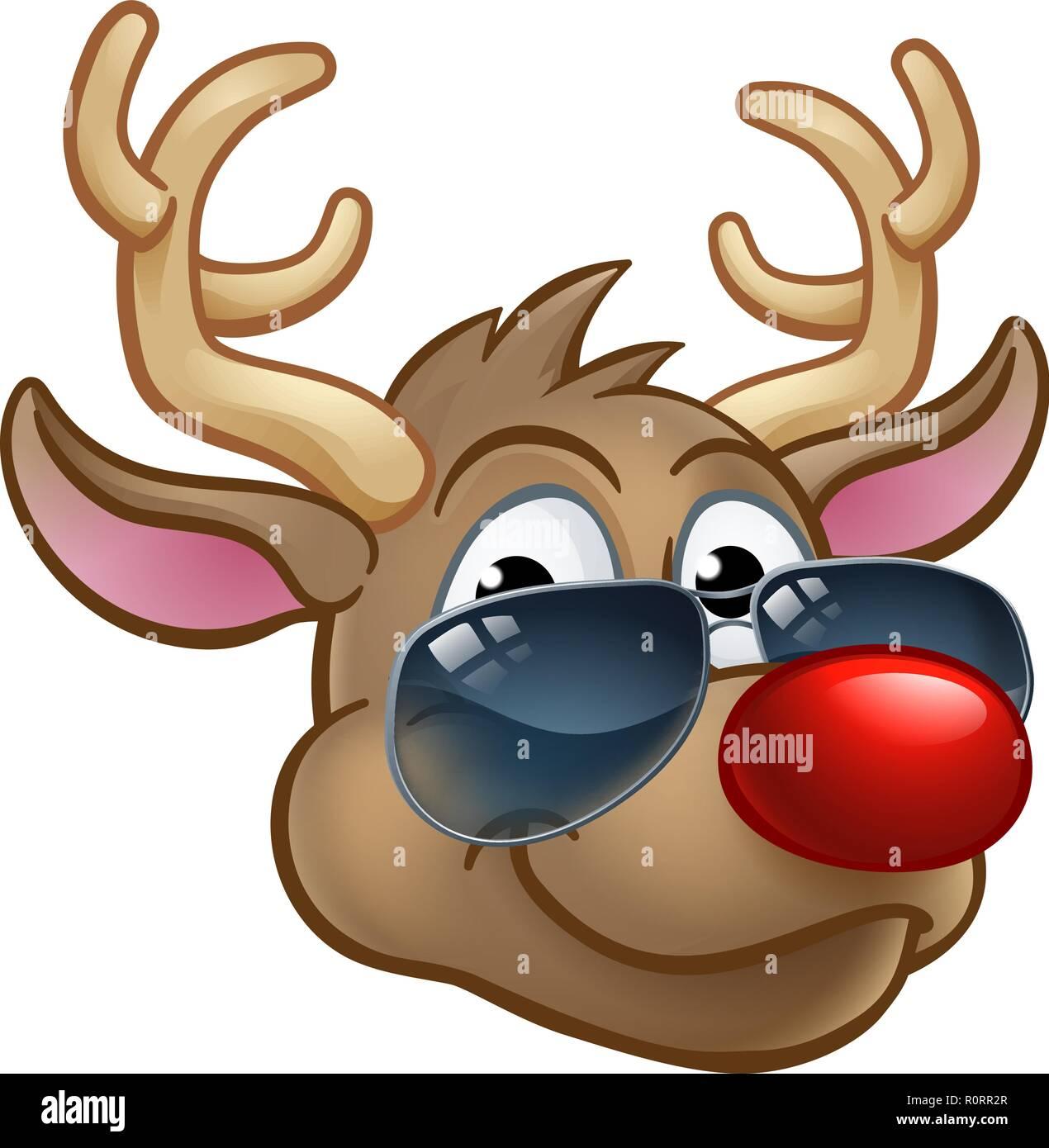 Cool Reindeer Christmas Cartoon Character Shades - Stock Image
