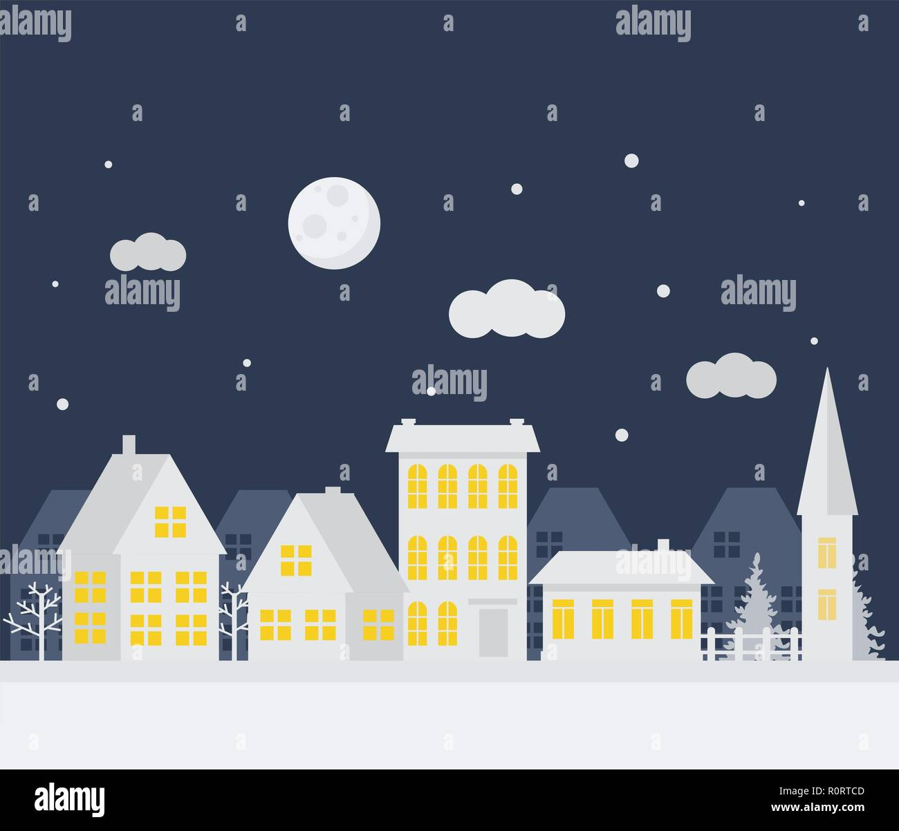 merry christmas and happy new year a small winter city paper art in digital style vector illustration