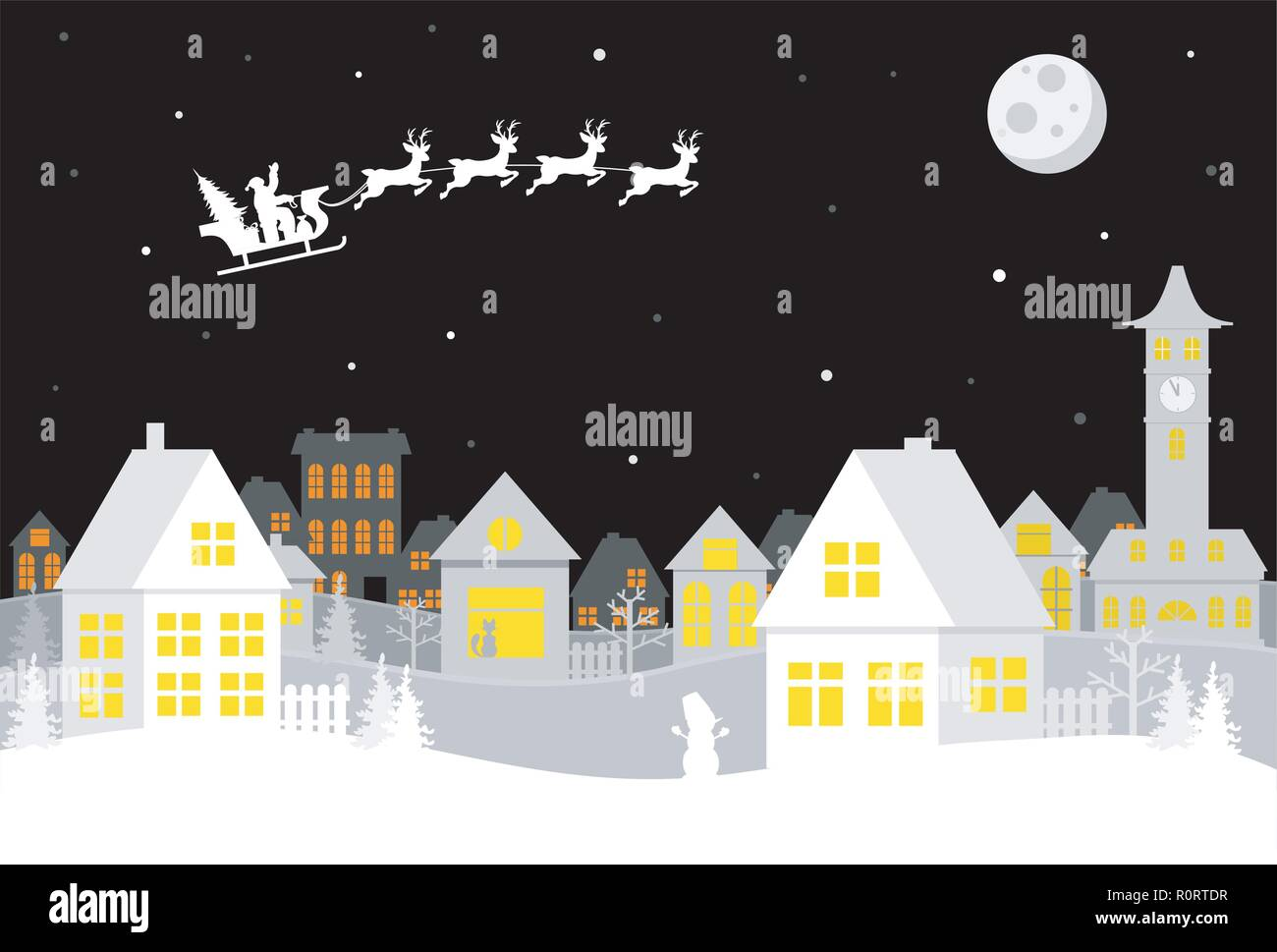 Merry Christmas and happy new year. A small town with Santa in the sky on a sleigh with deer. Paper art in digital style. Vector illustration. - Stock Image