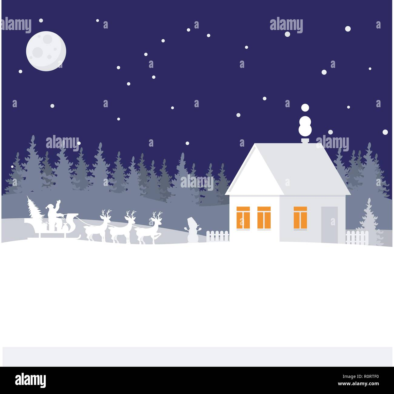 Happy Christmas and new year. Santa brought gifts to the forest house. Paper art in digital style. Vector illustration. - Stock Image