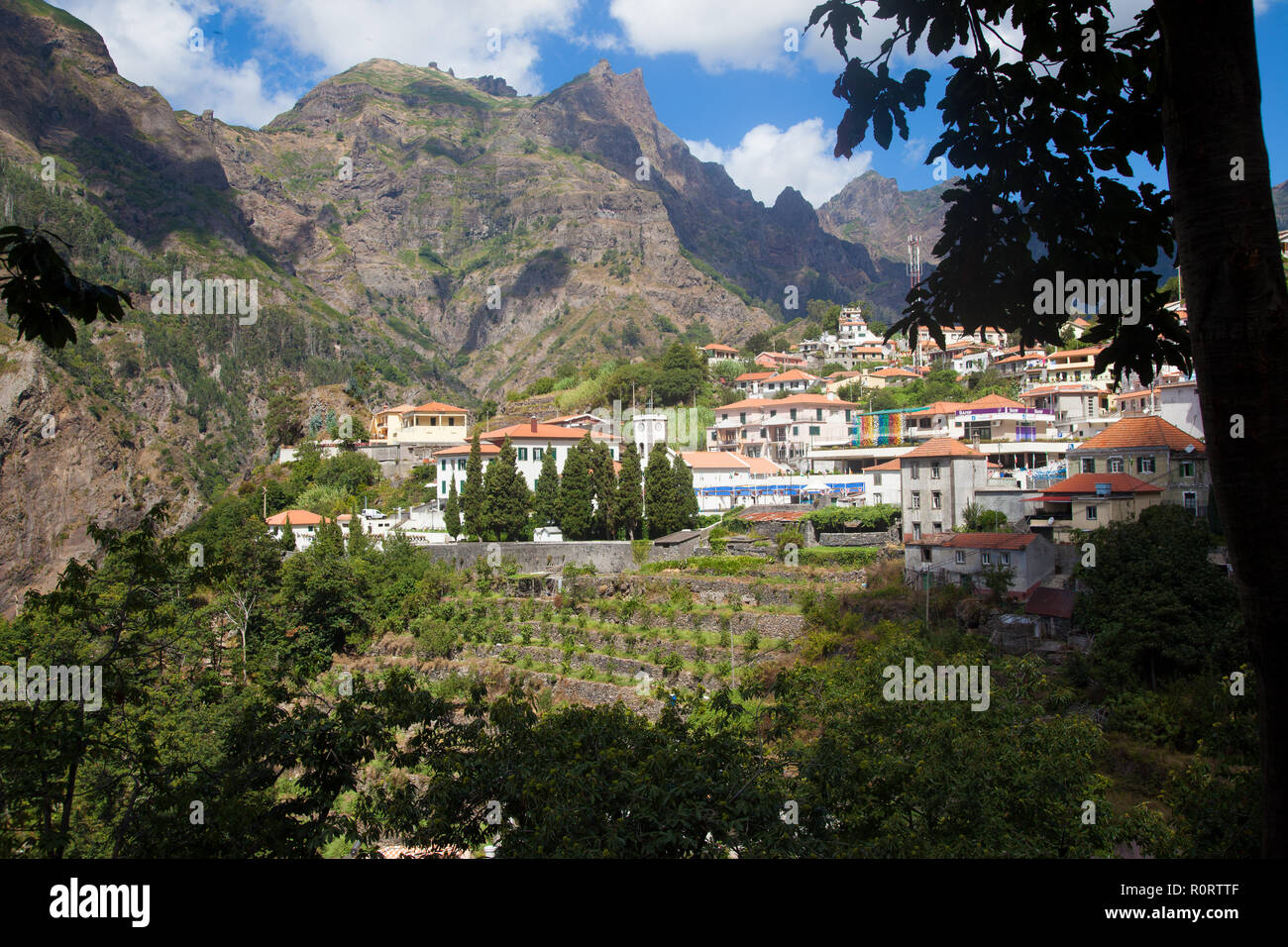 View of  the village Curral das freiras, Madeira Island, Portugal - Stock Image