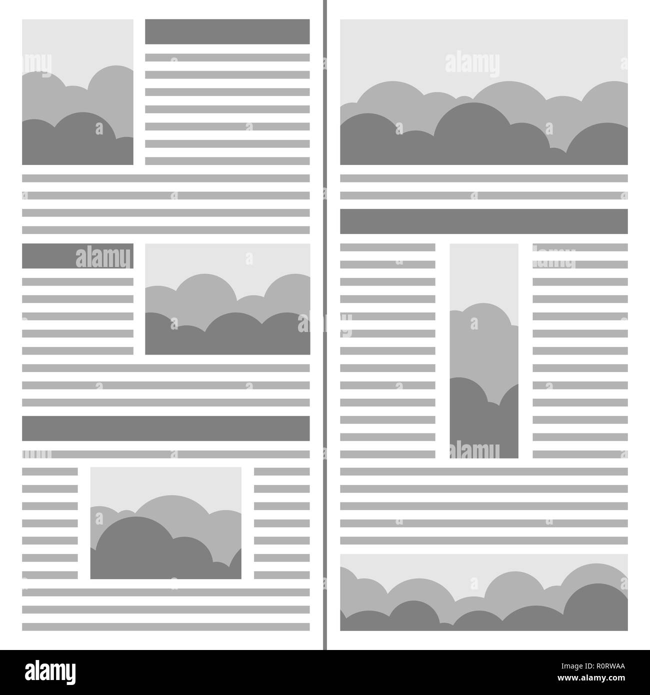 Newspaper design. Template of the journal with columns and pictures - Stock Image