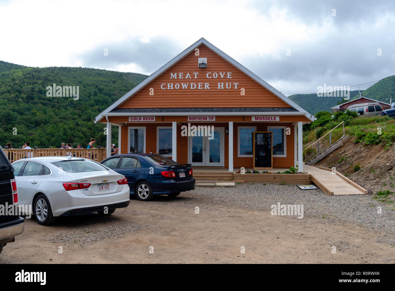 Lunch time at the Meat Cove Chowder Hut, Meat Cove, Nova Scotia, Canada. - Stock Image
