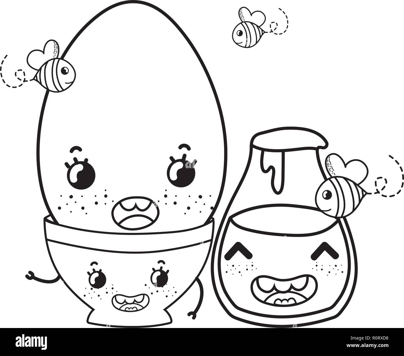 Kitchen And Food Kawaii Cartoons In Black And White Stock