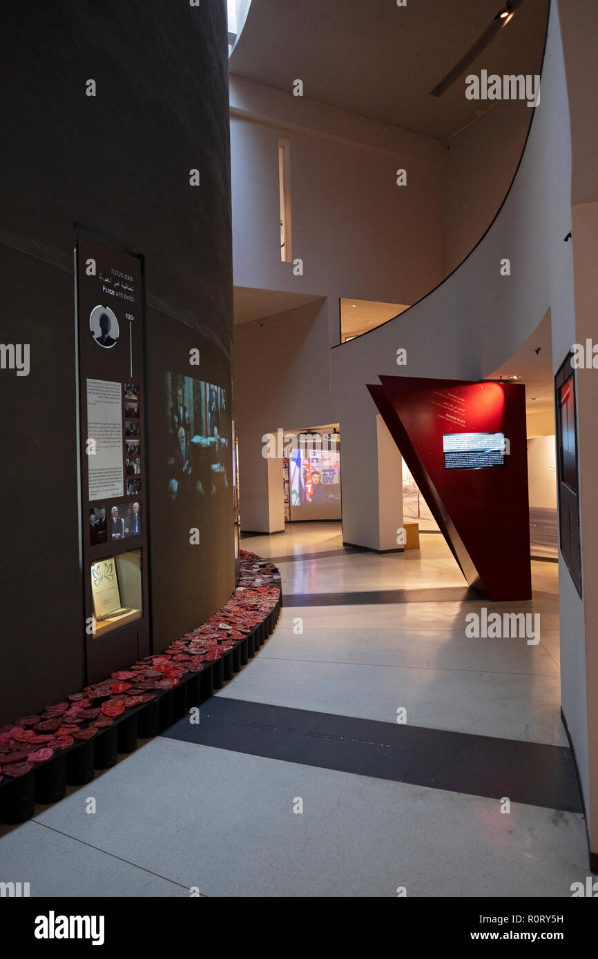 The interior of the Yitzhak Rabin Center, a museum and library in Tel aviv, Israel. Stock Photo