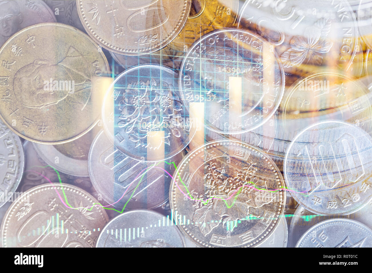 Stock market or forex trading graph and candlestick chart suitable for financial investment concept. Economy trends background for business idea and a Stock Photo