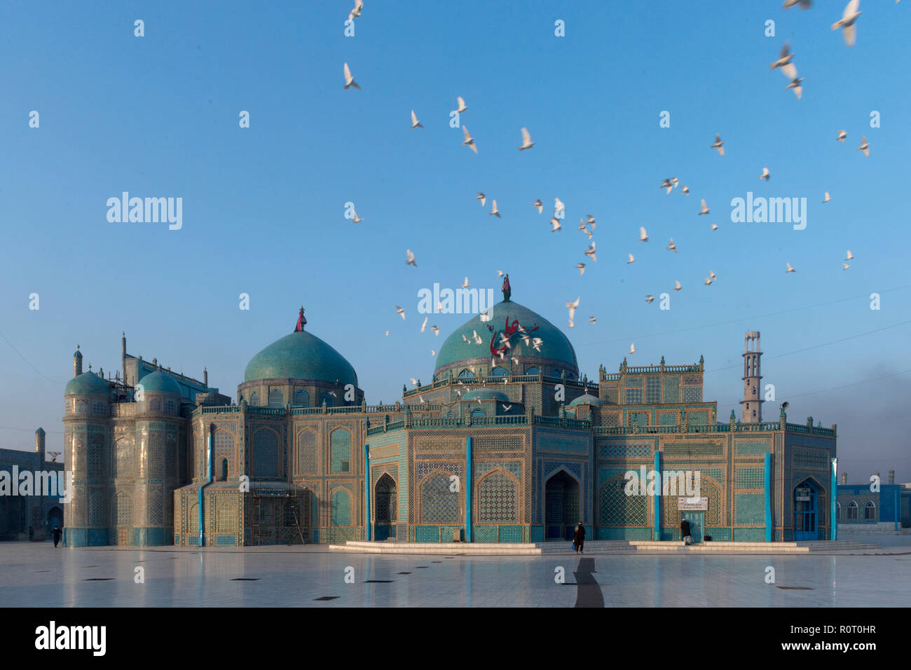 Architecture Of The Shrine Of Hazrat Ali, also called the Blue Mosque, Mazar-e Sharif, Afghanistan Stock Photo