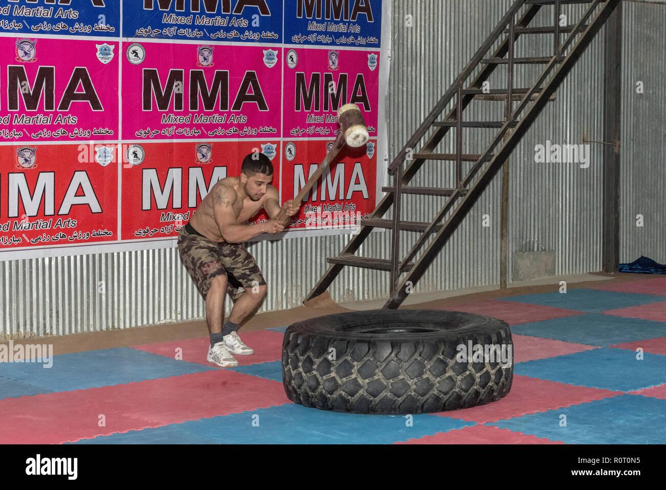Amateur MMA (Mixed Martial Arts) Training, Mazar-e Sharif, Balkh Province, Afghanistan Stock Photo