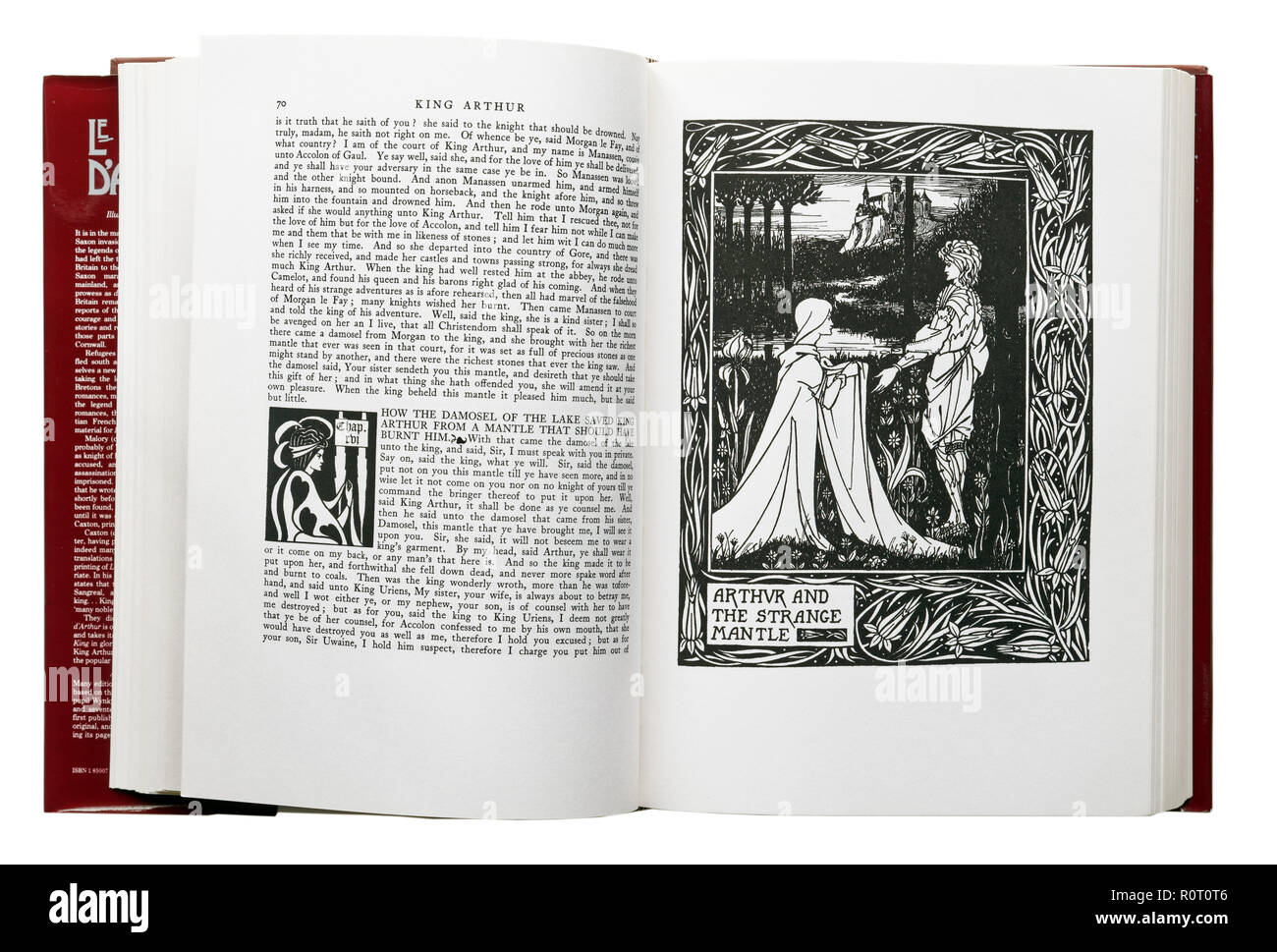 Le Morte d'Arthur by Sir Thomas Malory. Illustration Arthur and the Strange Mantle by Aubrey Beardsley - Stock Image