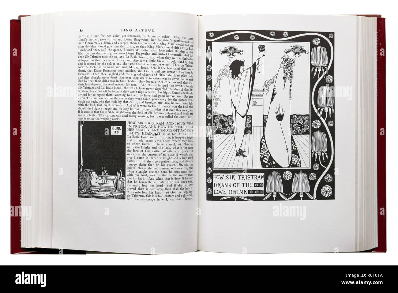 Le Morte d'Arthur by Sir Thomas Malory. Illustration How SIr Tristram Drank of the Love Drink  by Aubrey Beardsley - Stock Image
