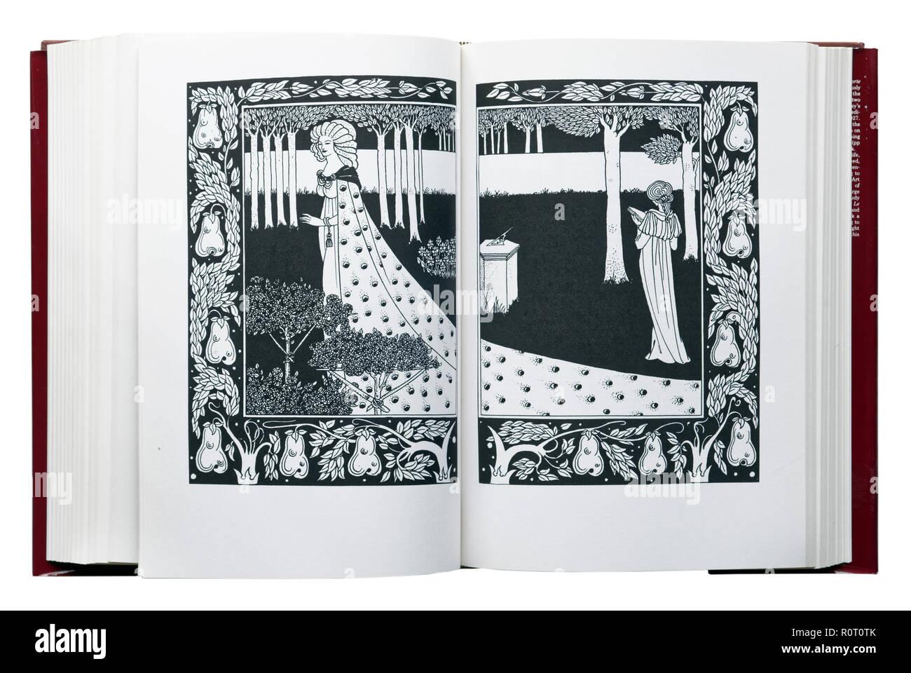 Le Morte d'Arthur by Sir Thomas Malory. Illustration La Beale Isoud at Joyous Gard by Aubrey Beardsley - Stock Image