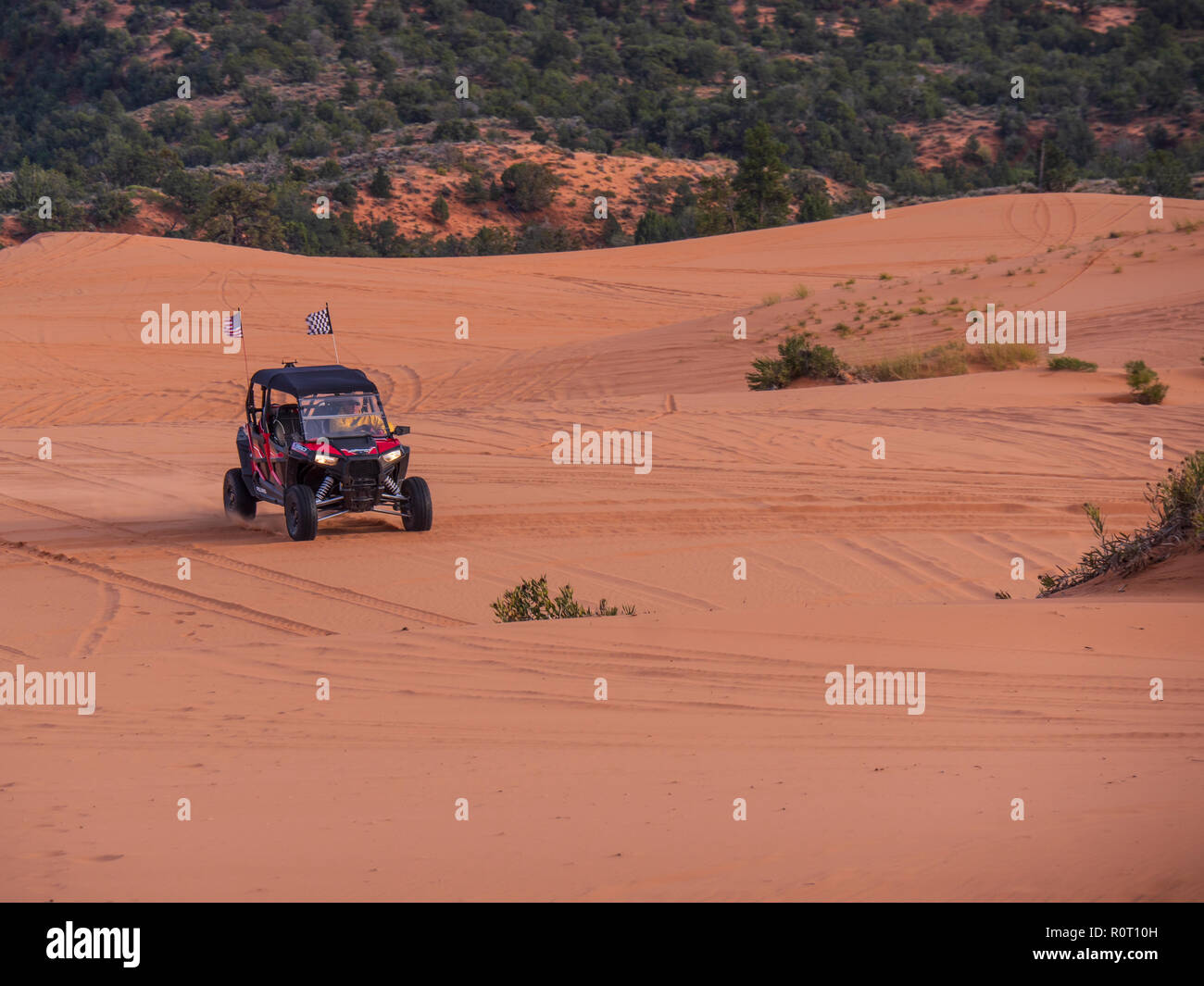 ATV on the dunes, Coral Pink Sand Dunes State Park, Kanab, Utah. - Stock Image