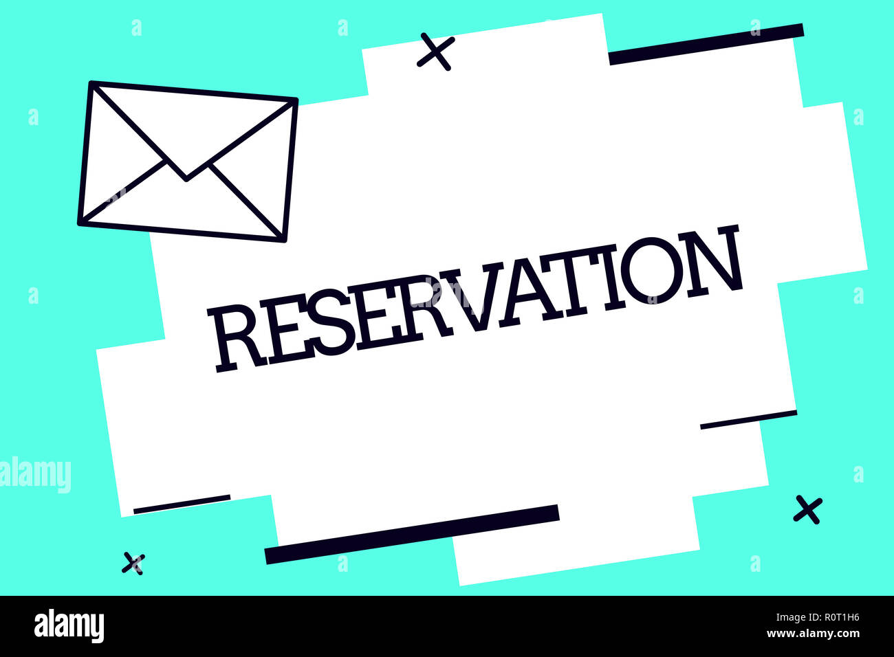 Handwriting text Reservation. Concept meaning Arrangement made so a seat somewhere is kept for someone. Stock Photo