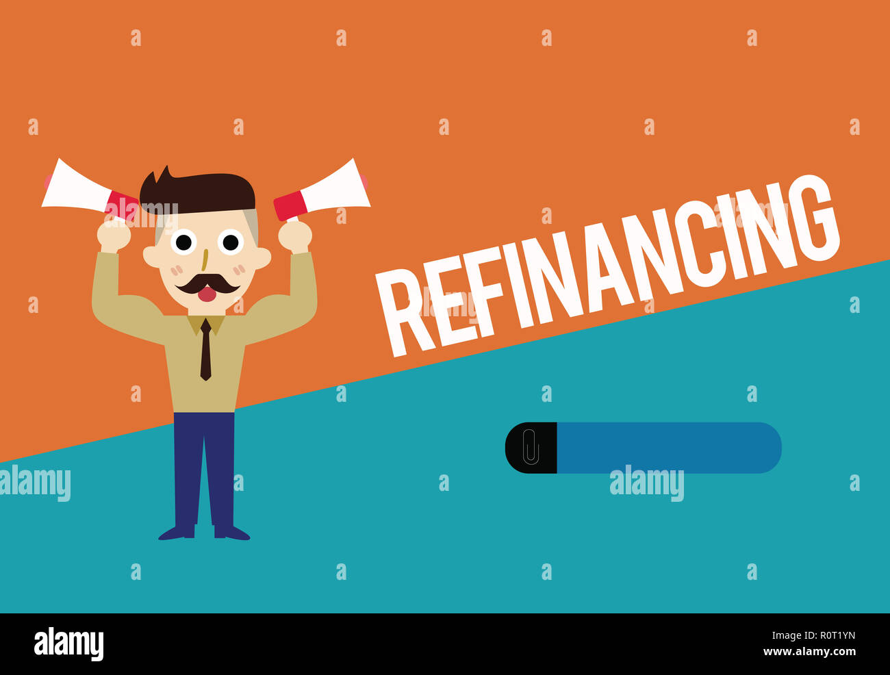 Text sign showing Refinancing. Conceptual photo Finance again with new loans at a lower rate of interest. Stock Photo