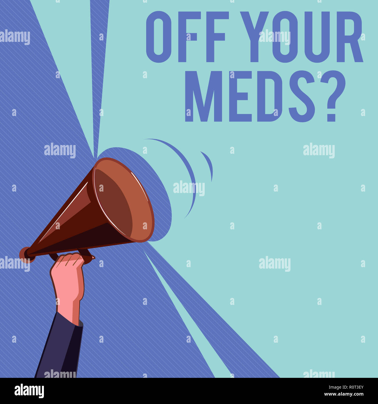 Text sign showing Off Your Meds question. Conceptual photo Stopping the usage of prescribe medications. - Stock Image