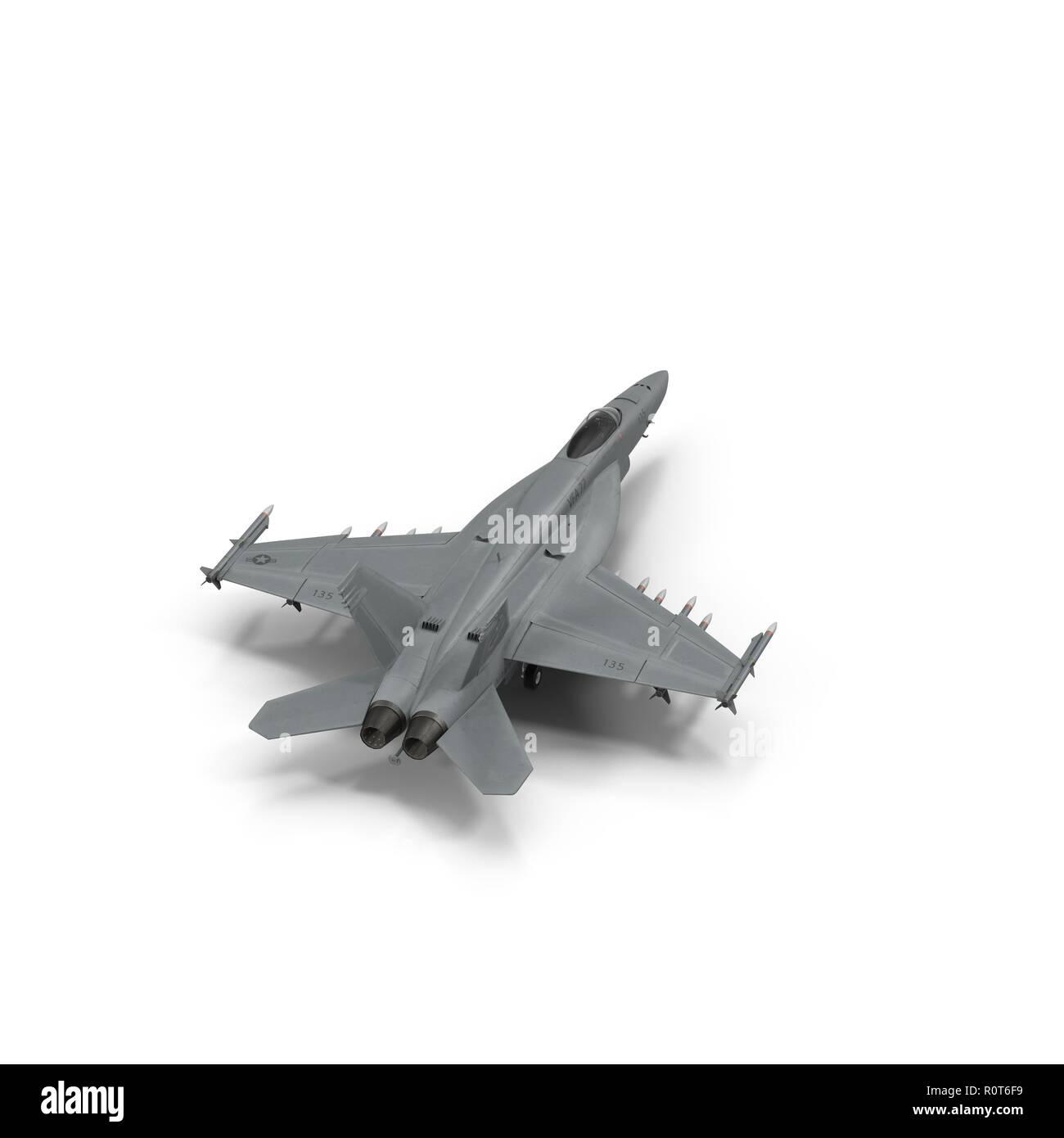 US Navy FA/18EF Hornet jet on white. 3D illustration Stock Photo