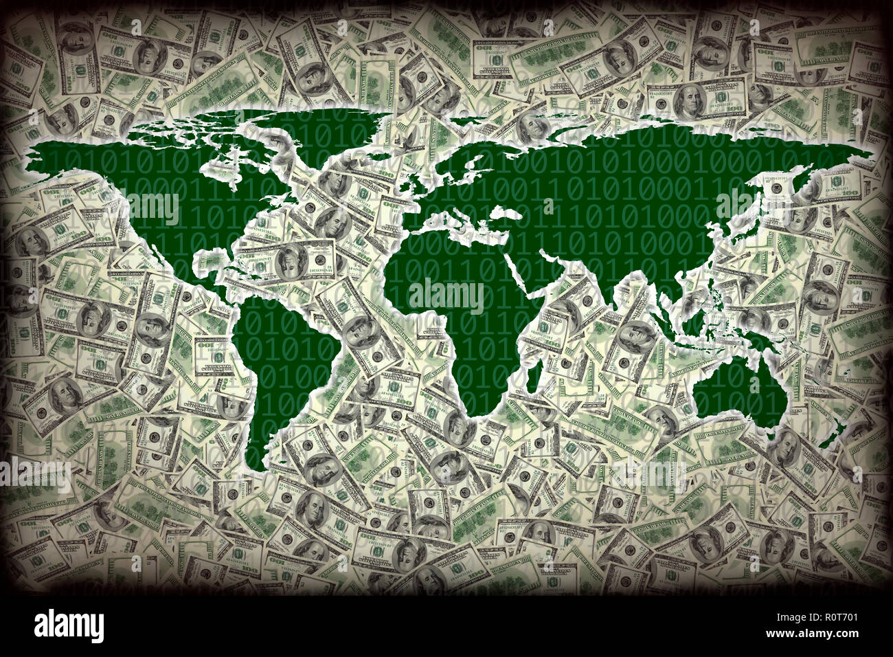 conceptual finance image of world map with american one