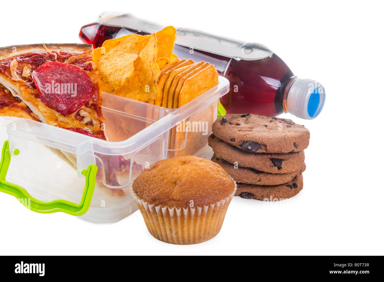 Unhealthy school lunch - Stock Image