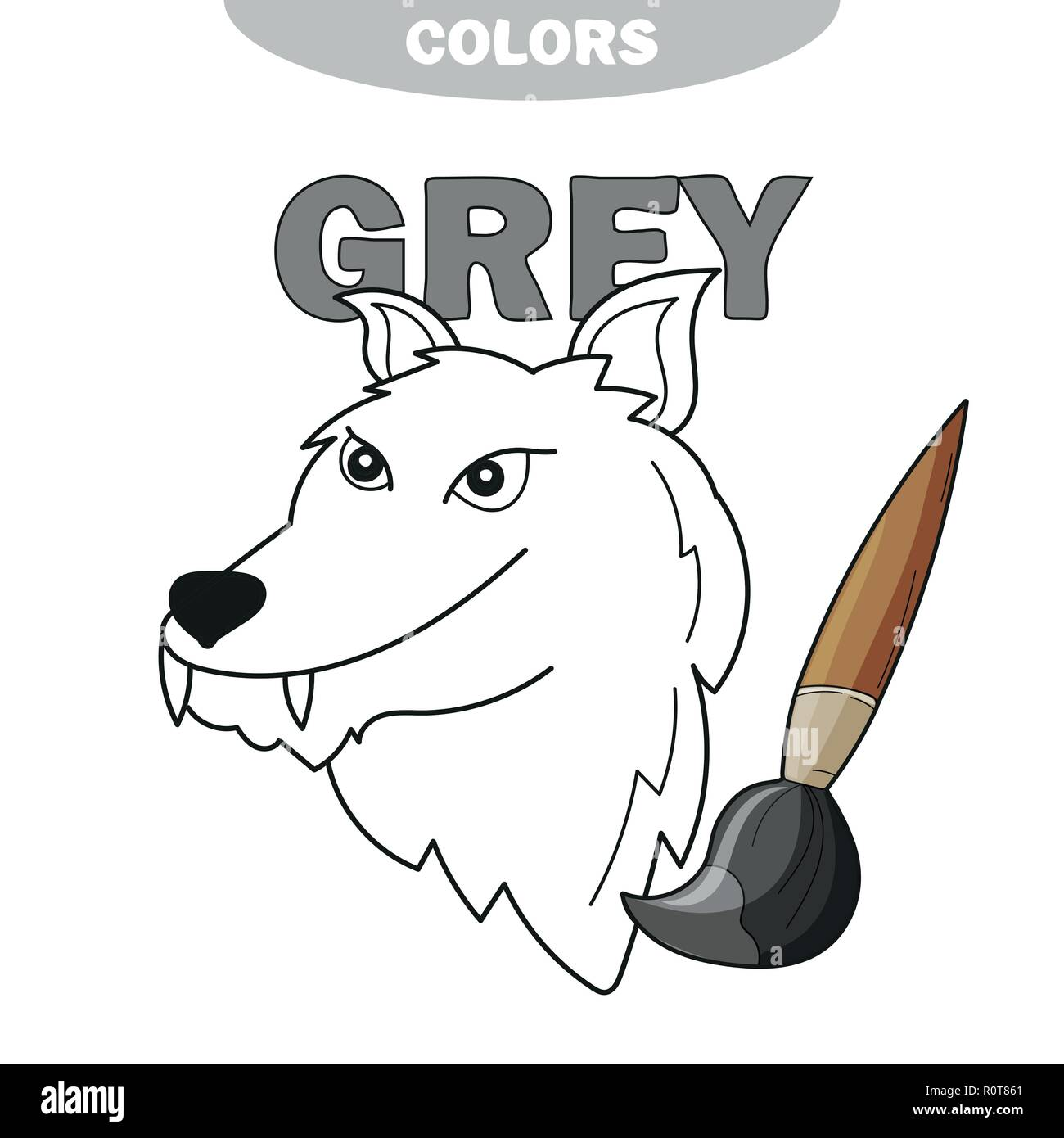Learn The Color Gray Wolf Coloring Book Illustration Of Primary Colors Vector Illustration Stock Vector Image Art Alamy