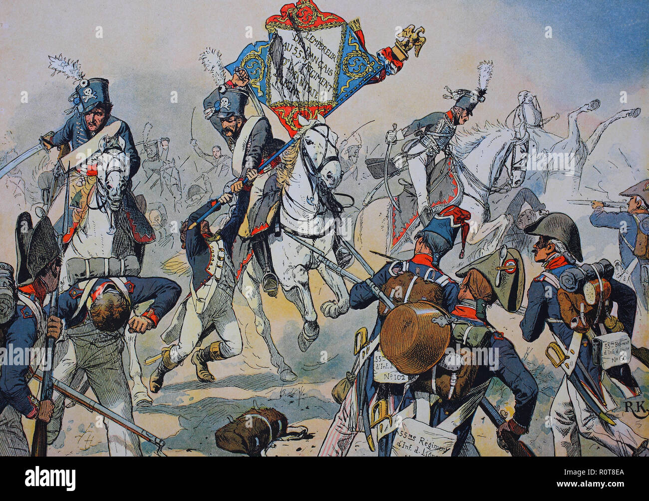 Digital improved reproduction, The Battle of Heilsberg, took place on 10 June 1807, during the Napoleonic Wars, Heilsberg, East Prussia - Stock Image