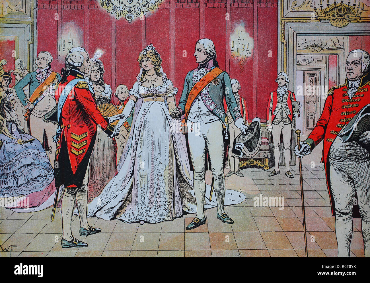 Digital improved reproduction, Duchess Louise of Mecklenburg-Strelitz, Luise Auguste Wilhelmine Amalie, 1776 - 1810, Queen of Prussia, Königin Luise von Preussen and Frederick William III of Prussia, Friedrich Wilhelm III, the wedding in Berlin, 24. December 1793 - Stock Image