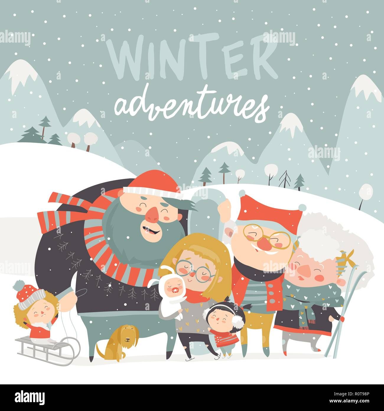 Winter season background people characters  Winter outdoor