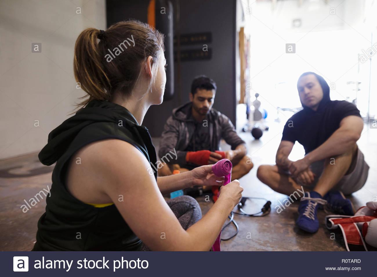 Boxers preparing in gym - Stock Image