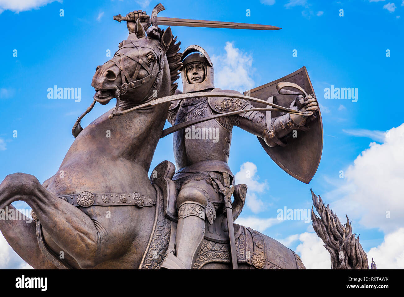 Monument to Vytis, Vytautas the Great. Kaunas, Kaunas County, Lithuania, Baltic states, Europe. - Stock Image
