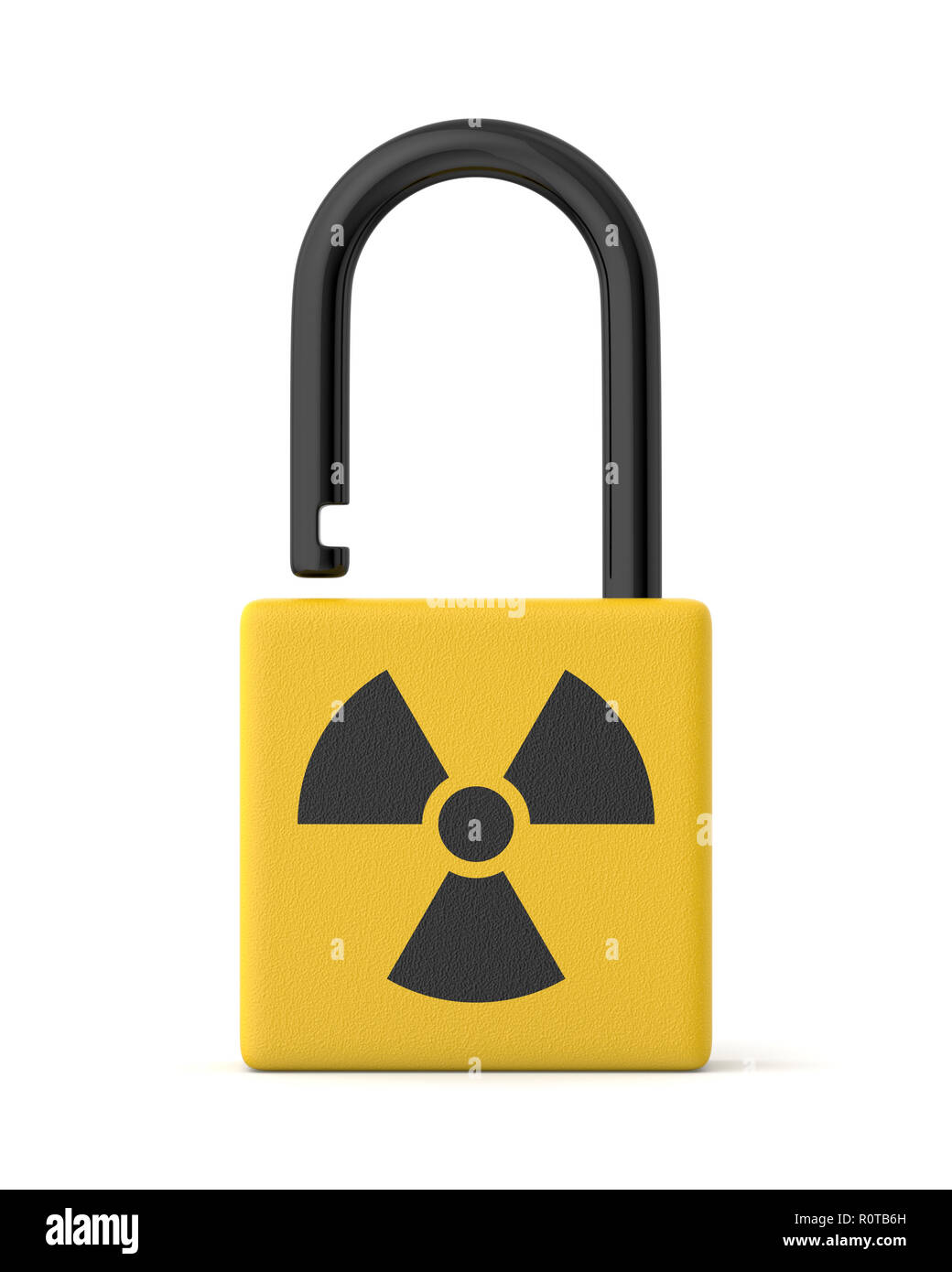 3d rendered yellow radiation padlock on a white background. - Stock Image